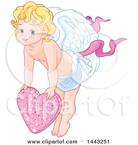 Clipart of a Valentines Day Cupid Eros over a Pink Heart - Royalty Free Vector Illustration by Pushkin