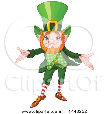 Clipart of a St Patricks Day Leprechaun Welcoming - Royalty Free Vector Illustration by Pushkin