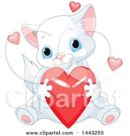 Clipart of a Cute Blue Eyed Kitten Hugging a Red Valentine Heart - Royalty Free Vector Illustration by Pushkin