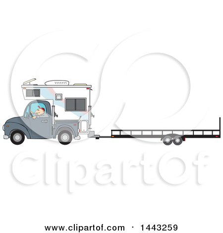 Clipart of a Cartoon Caucasian Man Driving a Truck and Camper and Towing a Trailer - Royalty Free Vector Illustration by djart