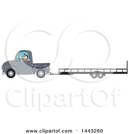 Clipart of a Cartoon Caucasian Man Driving a Truck and Towing a Trailer - Royalty Free Vector Illustration by djart