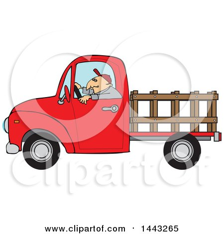 Clipart of a Cartoon White Man Driving a Red Pickup Truck with a Stakeside Trailer - Royalty Free Vector Illustration by djart
