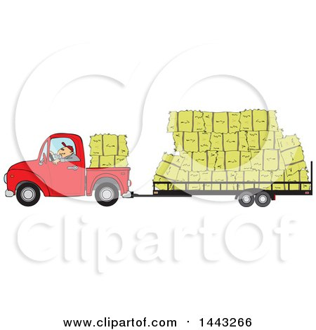 Clipart of a Cartoon White Man Driving a Red Pickup Truck and Hauling Hay Bales on a Trailer - Royalty Free Vector Illustration by djart