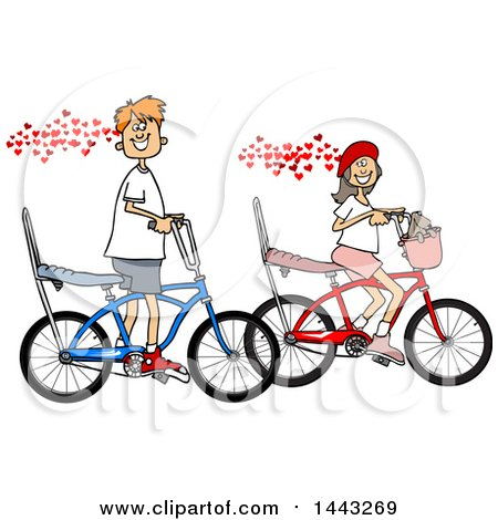Clipart of a Cartoon in Love Caucasian Boy and Girl Riding Bikes with Hearts - Royalty Free Vector Illustration by djart