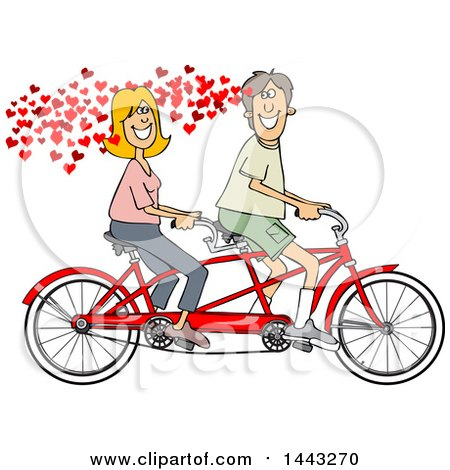 Clipart of a Cartoon in Love Caucasian Couple Riding a Tandem Bike with Hearts - Royalty Free Vector Illustration by djart