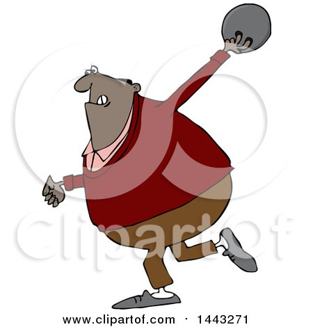 Clipart of a Cartoon Black Man Bowling - Royalty Free Vector Illustration by djart