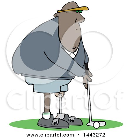 Clipart of a Cartoon Black Man Amputee Golfing - Royalty Free Vector Illustration by djart