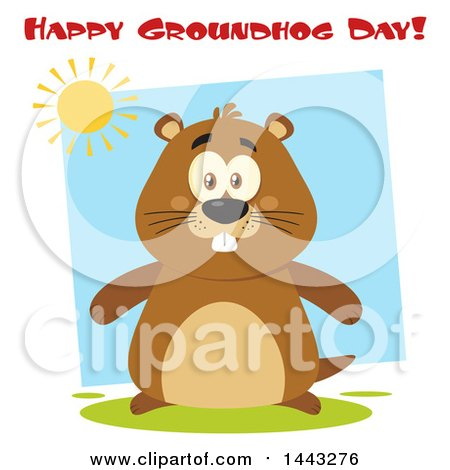 Clipart of a Flat Styled Happy Groundhog Mascot Under a Sun and Happy Groundhog Day Text - Royalty Free Vector Illustration by Hit Toon