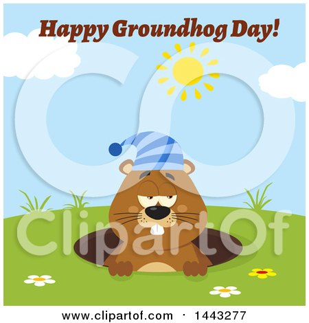 Clipart of a Flat Styled Sleepy Groundhog Mascot Wearing a Hat in a Hole on a Sunny Day with Text - Royalty Free Vector Illustration by Hit Toon