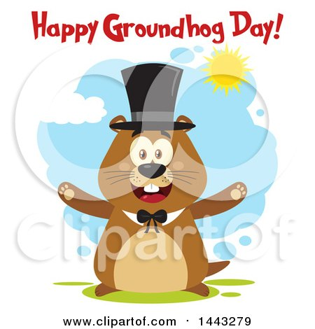 Clipart of a Flat Styled Happy Groundhog Mascot with Open Arms, Wearing a Top Hat, with Text on a Sunny Day - Royalty Free Vector Illustration by Hit Toon