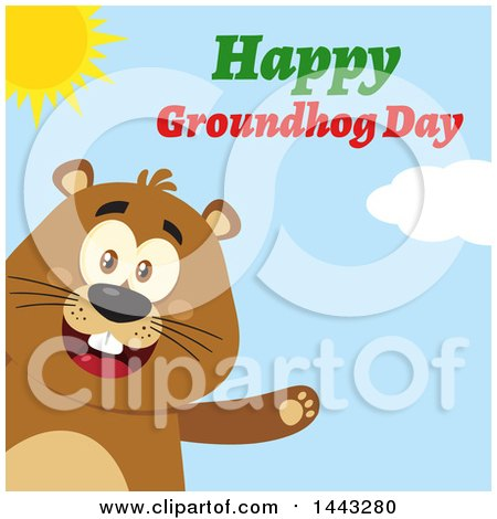 Clipart of a Flat Styled Happy Groundhog Mascot Presenting, with Text, on a Sunny Day - Royalty Free Vector Illustration by Hit Toon