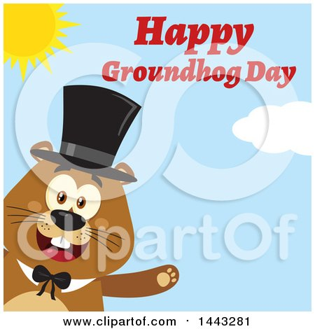 Clipart of a Flat Styled Happy Groundhog Mascot Presenting and Wearing a Top Hat, with Text, on a Sunny Day - Royalty Free Vector Illustration by Hit Toon