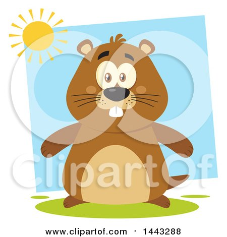 Clipart of a Flat Styled Happy Groundhog Mascot Under a Sun - Royalty Free Vector Illustration by Hit Toon