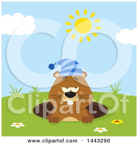 Clipart of a Flat Styled Sleepy Groundhog Mascot Wearing a Hat in a Hole on a Sunny Day - Royalty Free Vector Illustration by Hit Toon