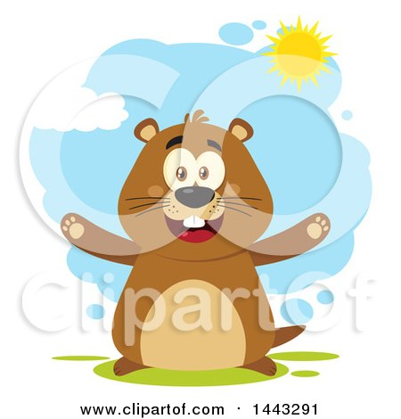 Clipart of a Flat Styled Happy Groundhog Mascot with Open Arms, on a Sunny Day - Royalty Free Vector Illustration by Hit Toon