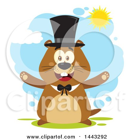 Clipart of a Flat Styled Happy Groundhog Mascot with Open Arms, Wearing a Top Hat on a Sunny Day - Royalty Free Vector Illustration by Hit Toon