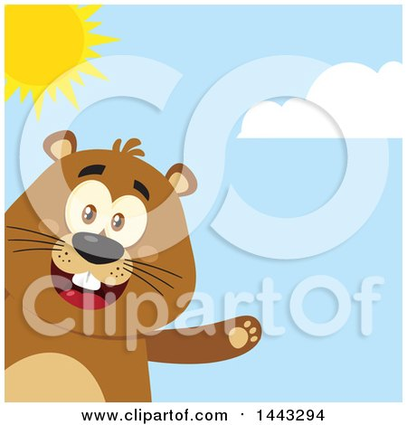 Clipart of a Flat Styled Happy Groundhog Mascot Presenting on a Sunny Day - Royalty Free Vector Illustration by Hit Toon