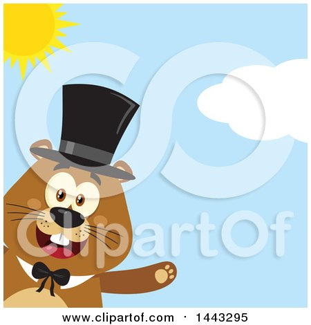 Clipart of a Flat Styled Happy Groundhog Mascot Presenting and Wearing a Top Hat on a Sunny Day - Royalty Free Vector Illustration by Hit Toon
