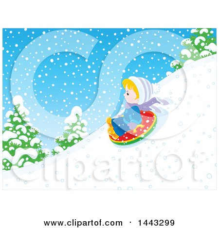 Clipart of a Little Blond White Boy Snow Tubing - Royalty Free Vector Illustration by Alex Bannykh