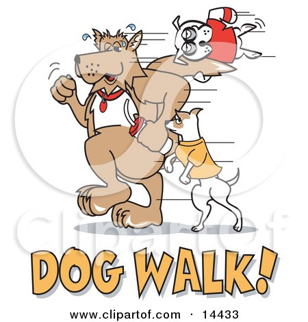 Dogs Walking With Dog Walk Text Clipart Illustration by Andy Nortnik