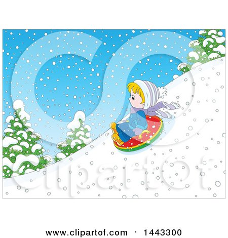 Clipart of a Cartoon Little Blond Caucasian Boy Snow Tubing - Royalty Free Vector Illustration by Alex Bannykh