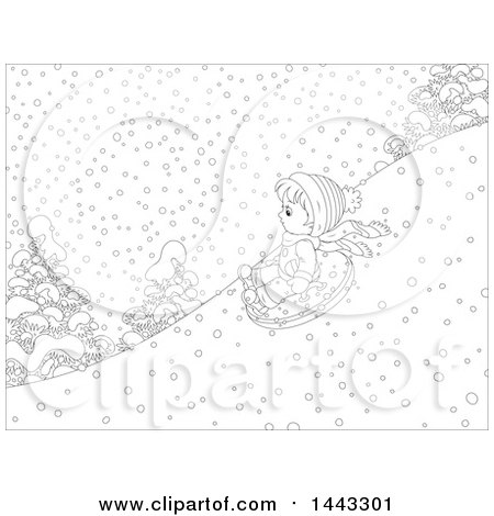 Clipart of a Cartoon Black and White Lineart Boy Snow Tubing - Royalty Free Vector Illustration by Alex Bannykh