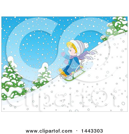 Clipart of a Cartoon Little Blond Caucasian Boy Sledding - Royalty Free Vector Illustration by Alex Bannykh