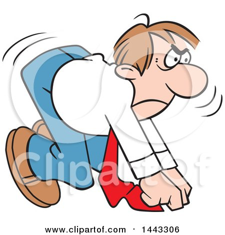 Clipart of a Cartoon Determined Caucasian Business Man Ready to Take off in a Race, on Your Mark - Royalty Free Vector Illustration by Johnny Sajem