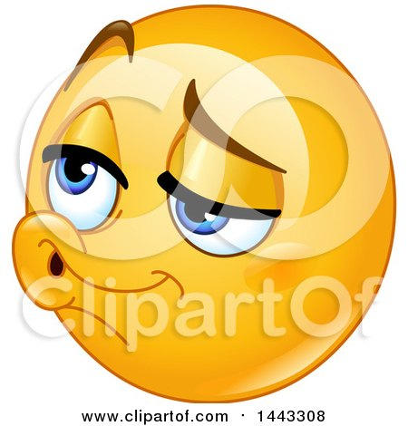 Clipart of a Yellow Emoji Smiley Face Emoticon Face with Puckered Lips - Royalty Free Vector Illustration by yayayoyo