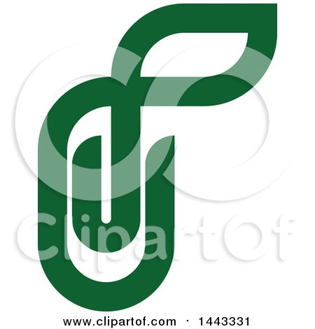 Clipart of a Green Paperclip with a Leaf - Royalty Free Vector Illustration by elena