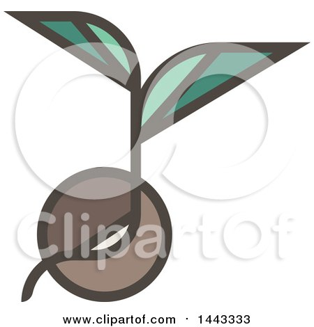 Clipart of a Flat Design Styled Sprout Plant - Royalty Free Vector Illustration by elena