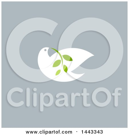 Clipart of a White Peace Dove Flying with a Branch Design, on Gray - Royalty Free Vector Illustration by elena