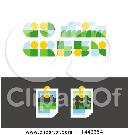 Clipart of Flat Styled Go Green and Nature Photos Designs - Royalty Free Vector Illustration by elena