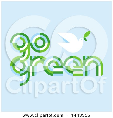 Clipart of a Peace Dove and Go Green Text on Blue - Royalty Free Vector Illustration by elena