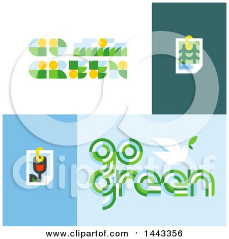 Clipart of Flat Styled Go Green Designs - Royalty Free Vector Illustration by elena