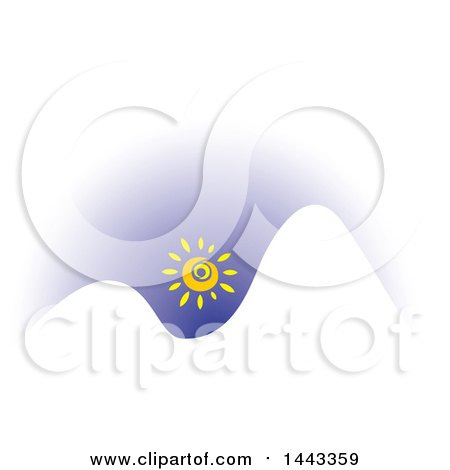 Clipart of a Sun over White Mountains - Royalty Free Vector Illustration by ColorMagic
