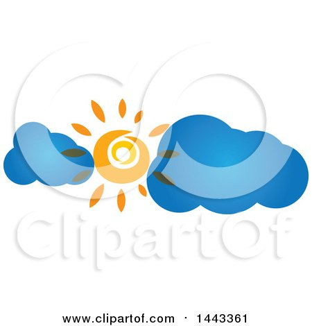 Clipart of a Sun Shining with Blue Clouds - Royalty Free Vector Illustration by ColorMagic