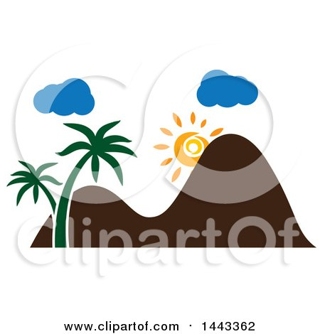 Clipart of a Sun with Mountains, Clouds and Palm Trees - Royalty Free Vector Illustration by ColorMagic