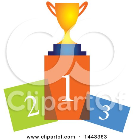 Clipart of a Trophy on Colorful Podiums - Royalty Free Vector Illustration by ColorMagic