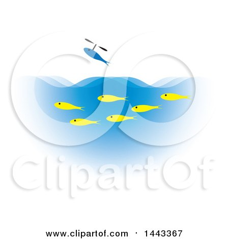 Clipart of a Blue Fish Flying over Yellow Fish Swimming in Blue Water - Royalty Free Vector Illustration by ColorMagic
