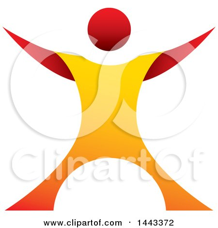 Clipart of a Gradient Red and Orange Man Standing with His Arms up and out - Royalty Free Vector Illustration by ColorMagic