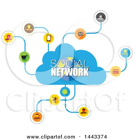 Clipart Of A Cloud And Social Network Design Royalty Free Vector Illustration