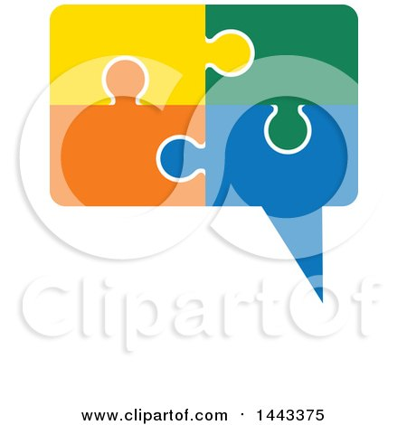 Clipart of a Speech Balloon Made of Colorful Jigsaw Puzzle Pieces - Royalty Free Vector Illustration by ColorMagic
