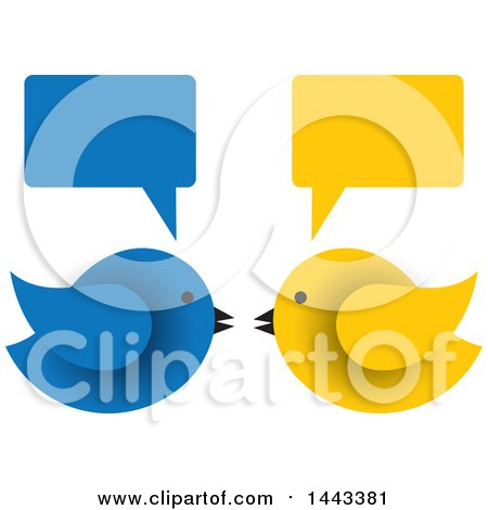 Clipart of Blue and Yellow Birds Facing Each Other Under Speech Balloons - Royalty Free Vector Illustration by ColorMagic