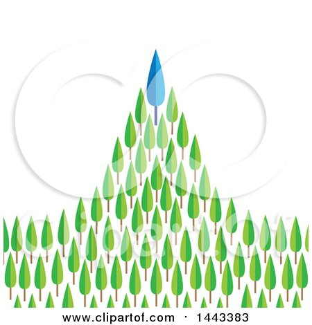 Clipart of a Blue Tree Atop a Mountain of Green Trees - Royalty Free Vector Illustration by ColorMagic