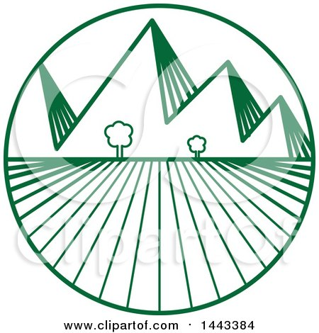 Clipart of a Green Crops and Mountains Logo Design - Royalty Free Vector Illustration by ColorMagic