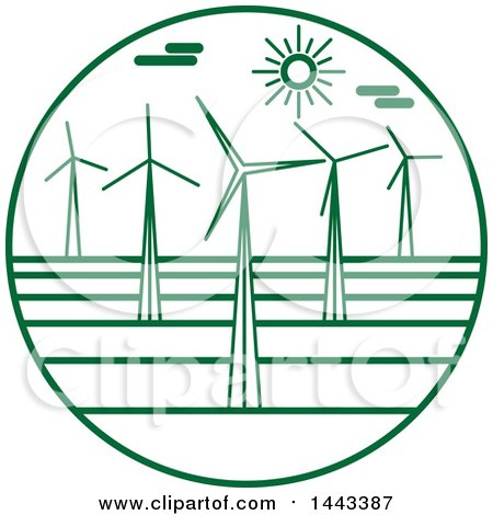 Clipart of a Green Wind Farm Logo Design - Royalty Free Vector Illustration by ColorMagic