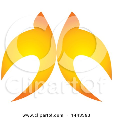 Clipart of a Pair of Golden Swallows Flying Upwards - Royalty Free Vector Illustration by ColorMagic
