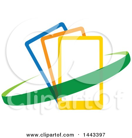 Clipart of a Green Swoosh Around Blue, Orange and Yellow Smart Cell Phones - Royalty Free Vector Illustration by ColorMagic