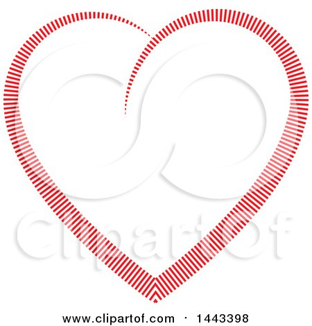 Clipart of a Red Heart Formed of Lines - Royalty Free Vector Illustration by ColorMagic